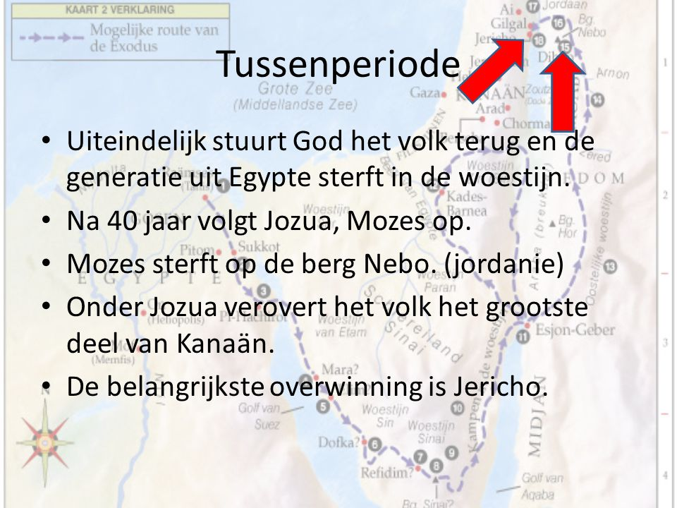 Tussenperiode Uiteindelijk stuurt God het volk terug en de generatie uit Egypte sterft in de woestijn. Na 40 jaar volgt Jozua, Mozes op. Mozes sterft