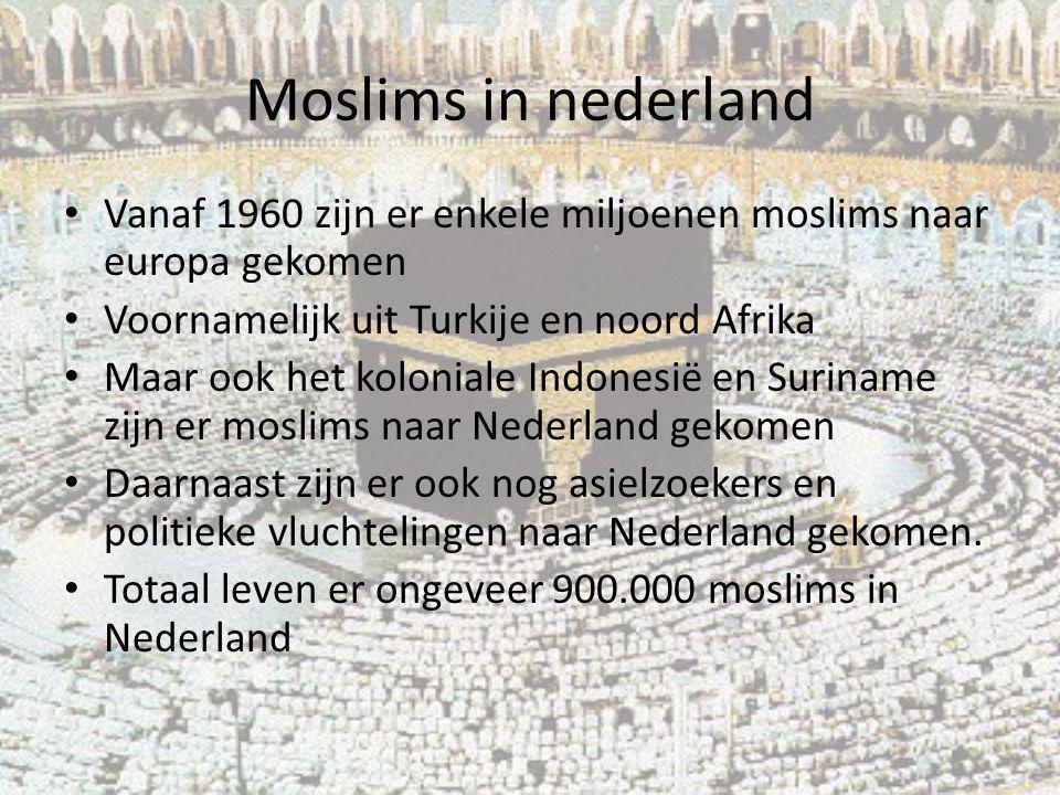 Moslims in nederland Vanaf 1960 zijn er enkele miljoenen moslims naar europa gekomen Voornamelijk uit Turkije en noord Afrika Maar ook het koloniale I