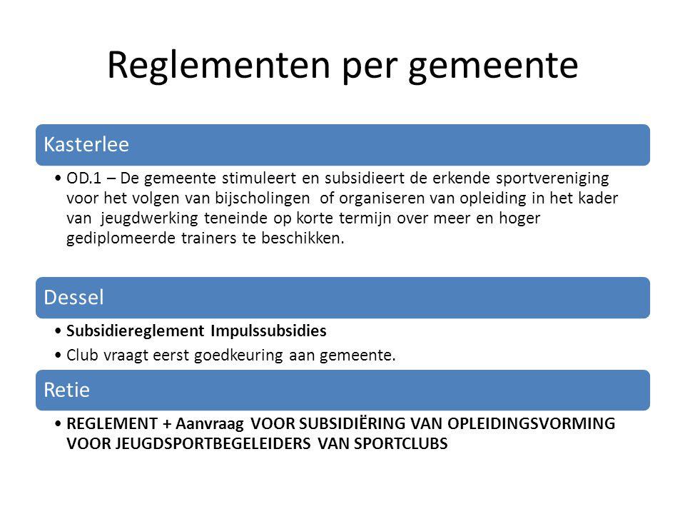 Reglementen per gemeente Kasterlee OD.1 – De gemeente stimuleert en subsidieert de erkende sportvereniging voor het volgen van bijscholingen of organi