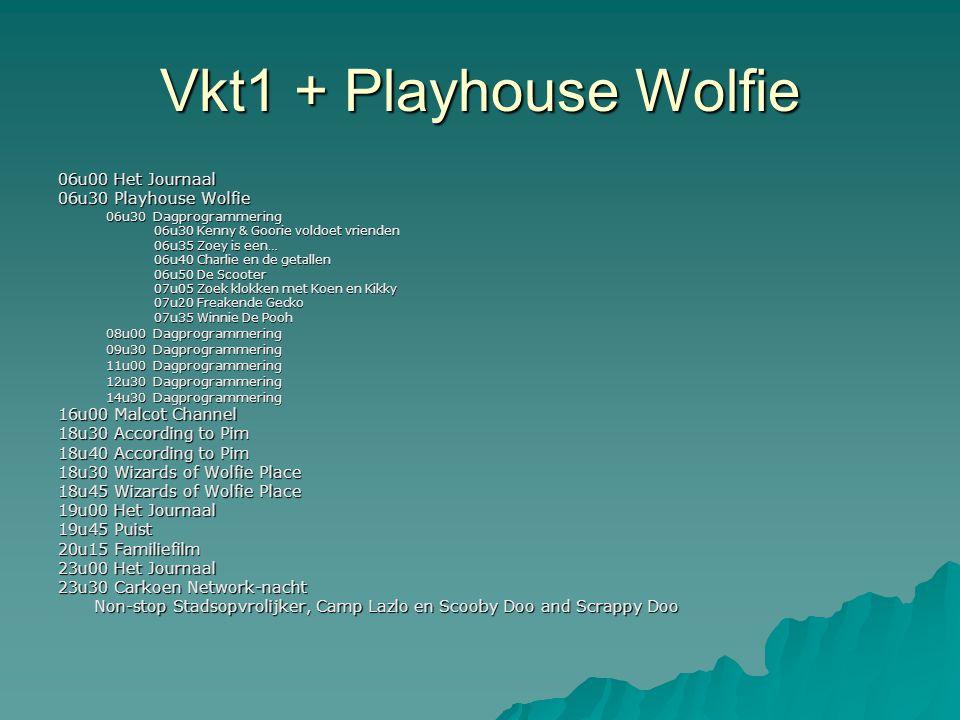 Vkt1 + Playhouse Wolfie 06u00 Het Journaal 06u30 Playhouse Wolfie 06u30 Dagprogrammering 06u30 Kenny & Goorie voldoet vrienden 06u35 Zoey is een… 06u4