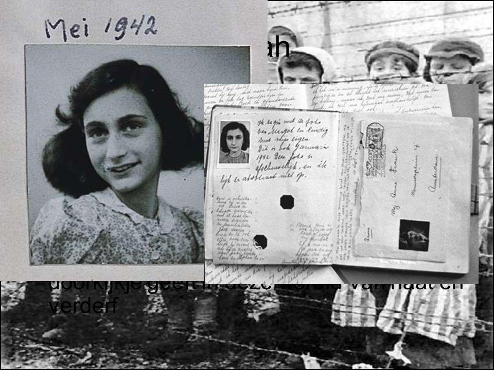 Shoah Uiteindelijk vinden 6.000.000 joden hun dood in kampen of door executie Miljoenen anderen zijn levenslang getraumatiseerd Na de oorlog wordt Ann