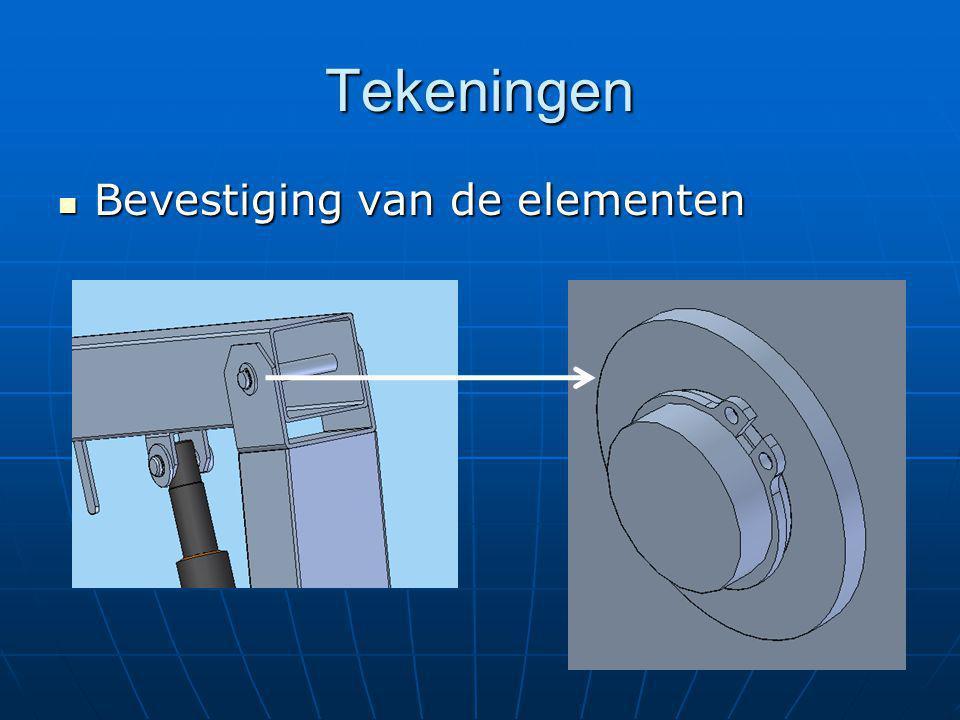 Tekeningen Bevestiging van de elementen Bevestiging van de elementen