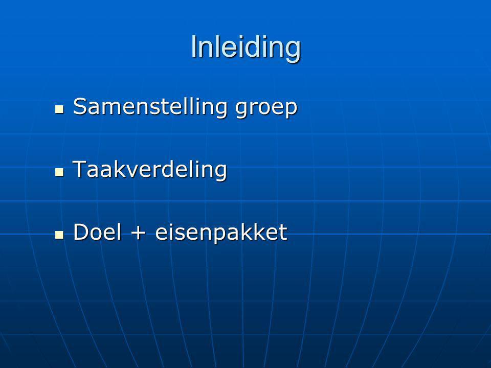 Inleiding Samenstelling groep Samenstelling groep Taakverdeling Taakverdeling Doel + eisenpakket Doel + eisenpakket