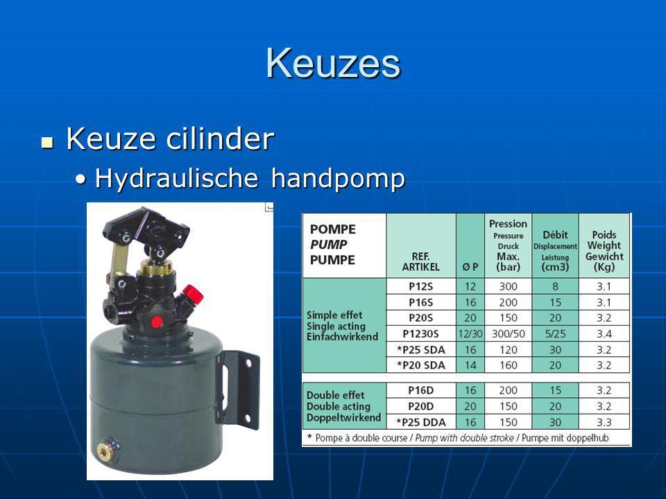 Keuzes Keuze cilinder Keuze cilinder Hydraulische handpompHydraulische handpomp