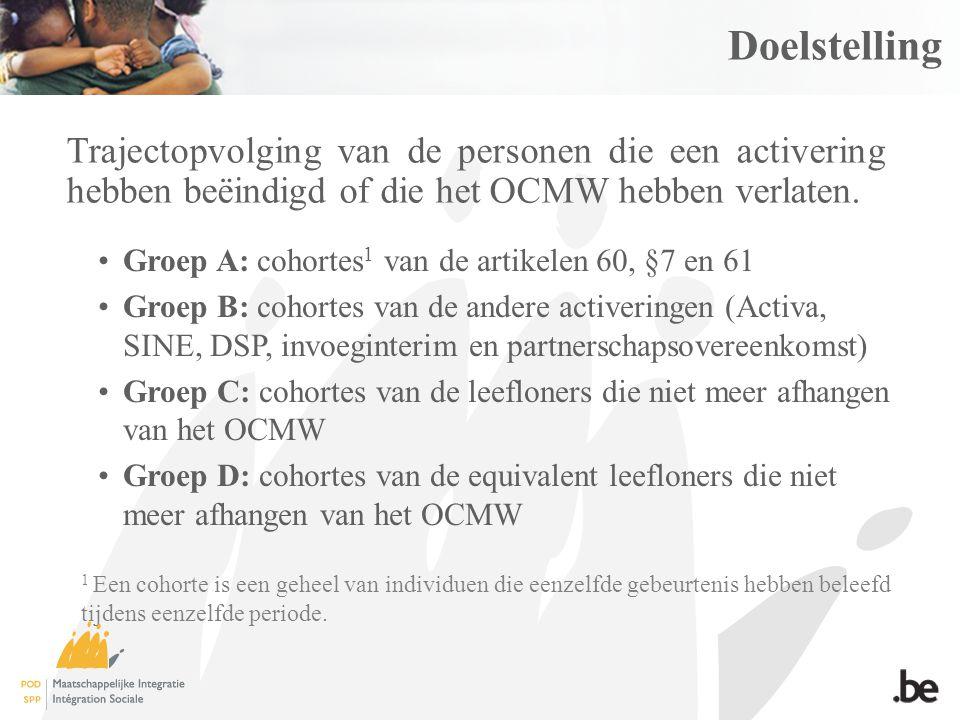 Doelstelling Groep A: cohortes 1 van de artikelen 60, §7 en 61 Groep B: cohortes van de andere activeringen (Activa, SINE, DSP, invoeginterim en partnerschapsovereenkomst) Groep C: cohortes van de leefloners die niet meer afhangen van het OCMW Groep D: cohortes van de equivalent leefloners die niet meer afhangen van het OCMW Trajectopvolging van de personen die een activering hebben beëindigd of die het OCMW hebben verlaten.