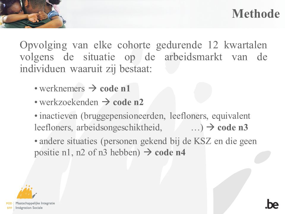 Methode Opvolging van elke cohorte gedurende 12 kwartalen volgens de situatie op de arbeidsmarkt van de individuen waaruit zij bestaat: werknemers  code n1 werkzoekenden  code n2 inactieven (bruggepensioneerden, leefloners, equivalent leefloners, arbeidsongeschiktheid, …)  code n3 andere situaties (personen gekend bij de KSZ en die geen positie n1, n2 of n3 hebben)  code n4