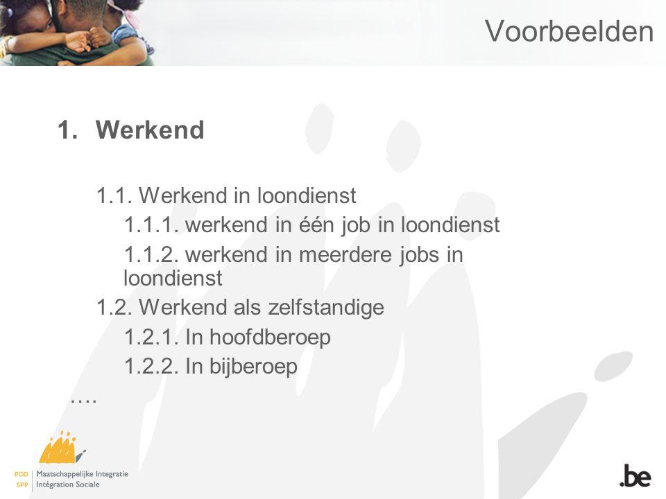 Voorbeelden 1.Werkend 1.1. Werkend in loondienst 1.1.1.