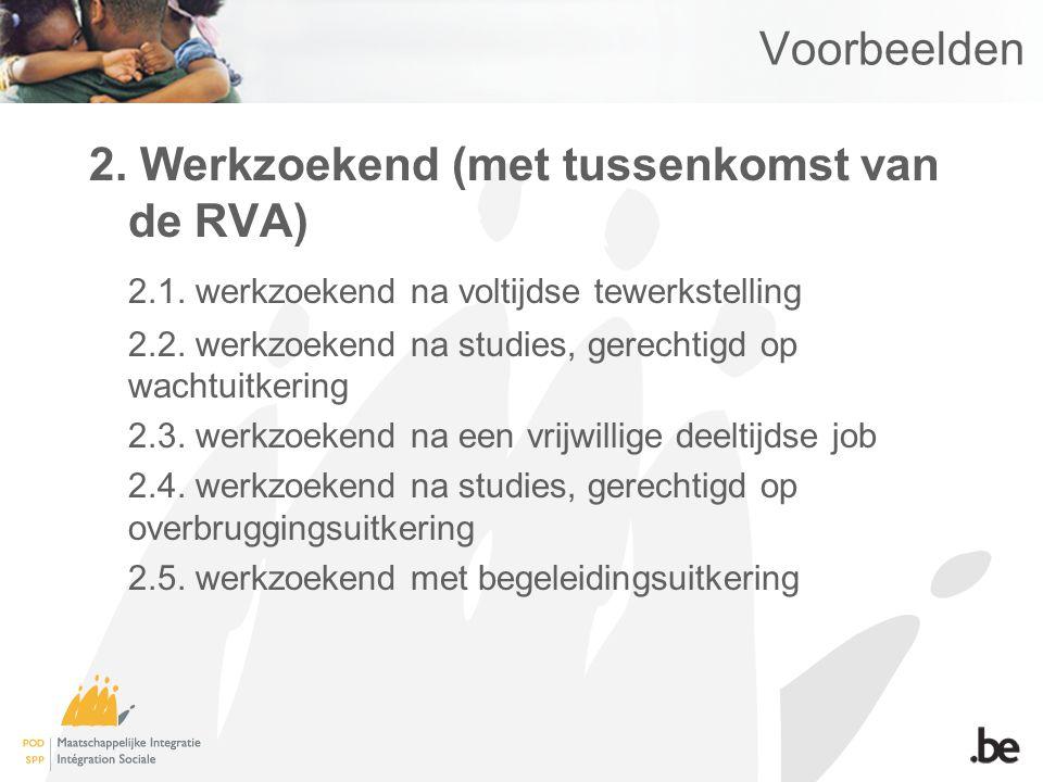 Voorbeelden 2. Werkzoekend (met tussenkomst van de RVA) 2.1.
