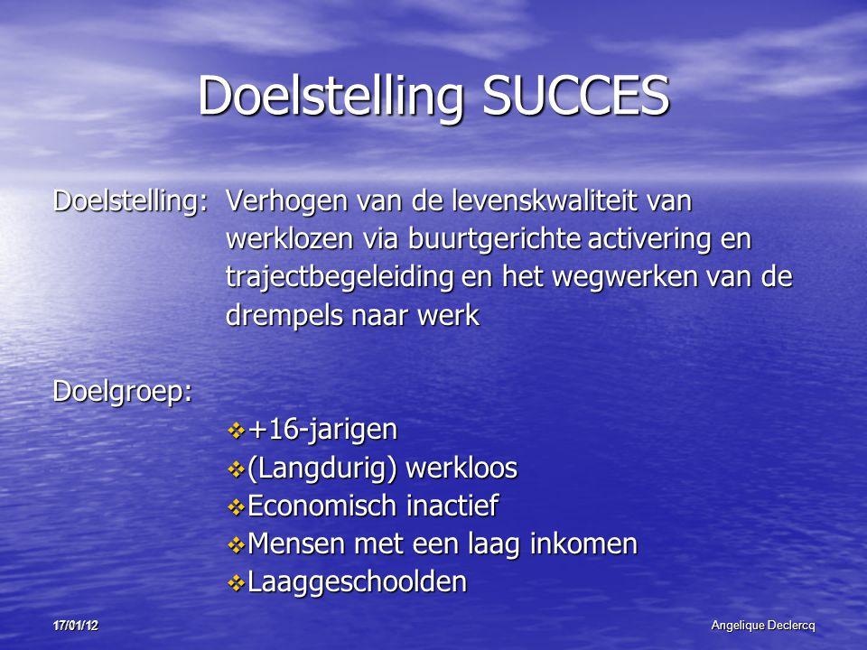 17/01/12Angelique Declercq 17/01/12 Doelstelling SUCCES Doelstelling:Verhogen van de levenskwaliteit van werklozen via buurtgerichte activering en tra