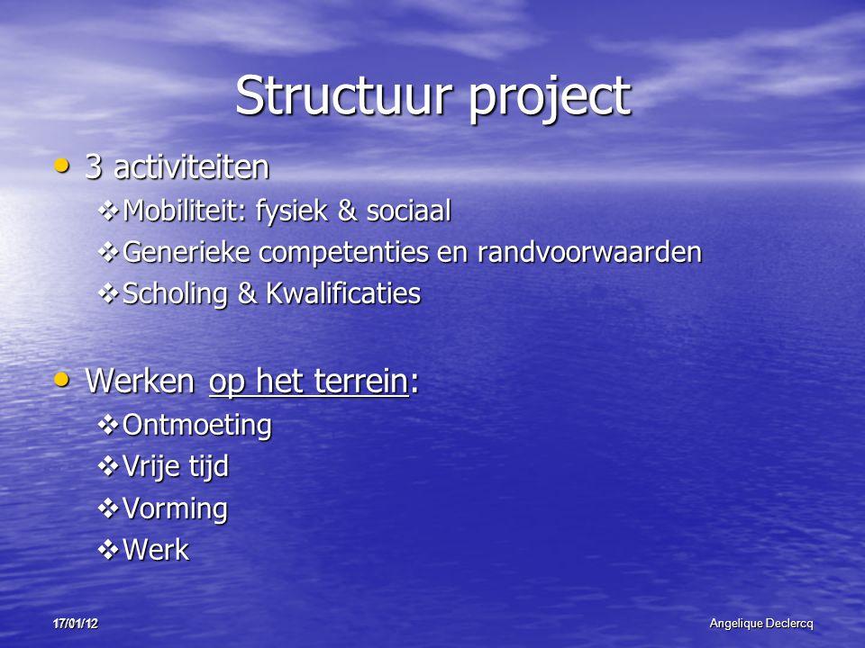 17/01/12Angelique Declercq 17/01/12 Structuur project 3 activiteiten 3 activiteiten  Mobiliteit: fysiek & sociaal  Generieke competenties en randvoo