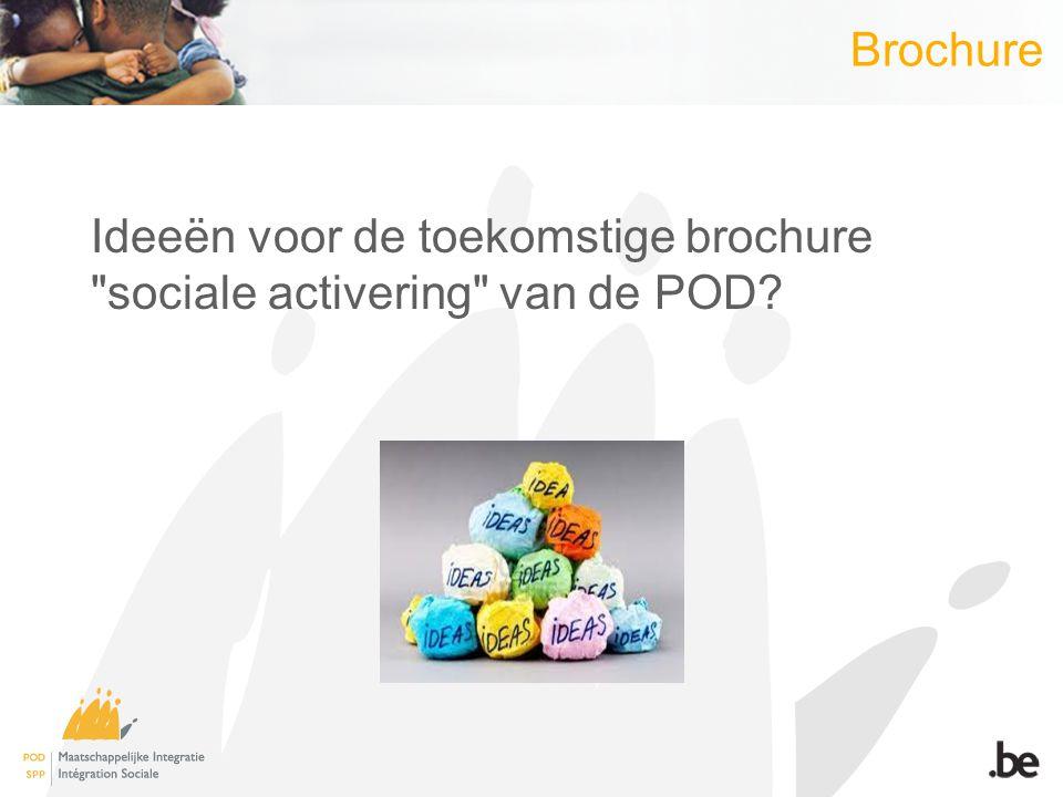 Brochure Ideeën voor de toekomstige brochure sociale activering van de POD