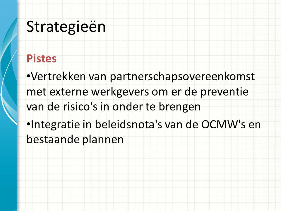 Strategieën Pistes Vertrekken van partnerschapsovereenkomst met externe werkgevers om er de preventie van de risico s in onder te brengen Integratie in beleidsnota s van de OCMW s en bestaande plannen