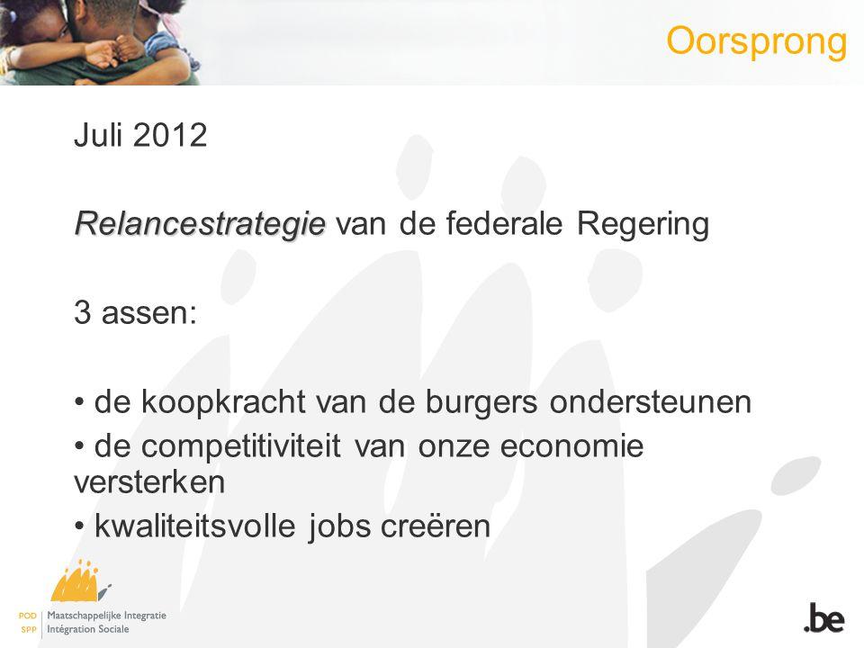 Juli 2012 Relancestrategie Relancestrategie van de federale Regering 3 assen: de koopkracht van de burgers ondersteunen de competitiviteit van onze ec