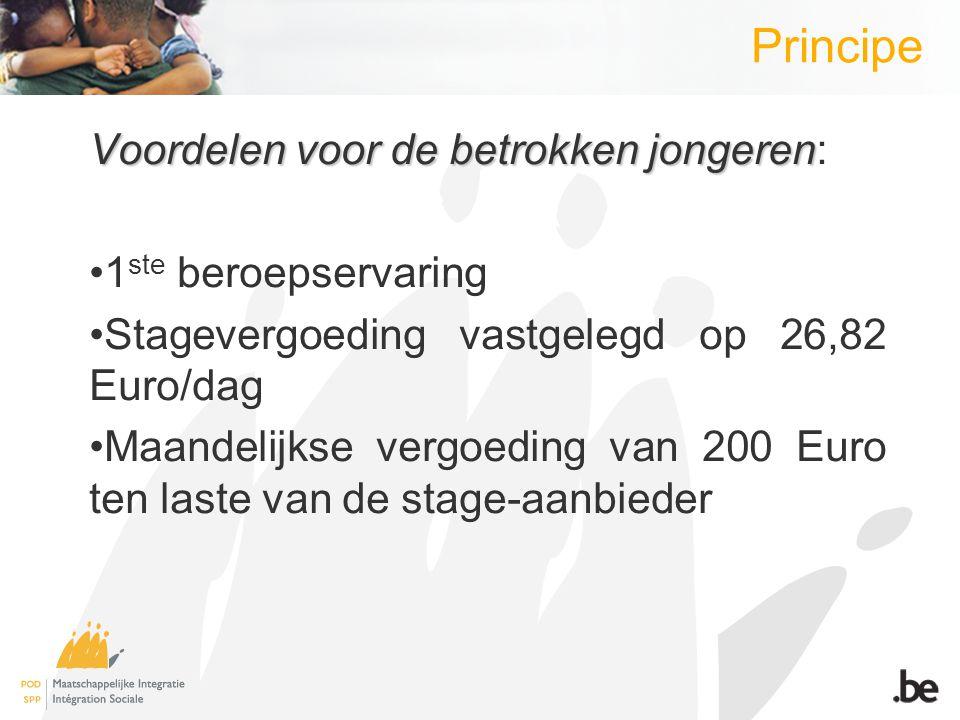 Principe Voordelen voor de betrokken jongeren Voordelen voor de betrokken jongeren: 1 ste beroepservaring Stagevergoeding vastgelegd op 26,82 Euro/dag