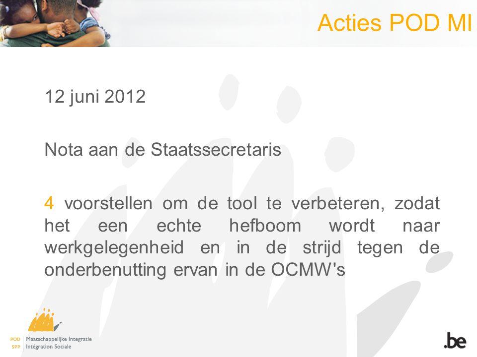 Acties POD MI 12 juni 2012 Nota aan de Staatssecretaris 4 voorstellen om de tool te verbeteren, zodat het een echte hefboom wordt naar werkgelegenheid en in de strijd tegen de onderbenutting ervan in de OCMW s