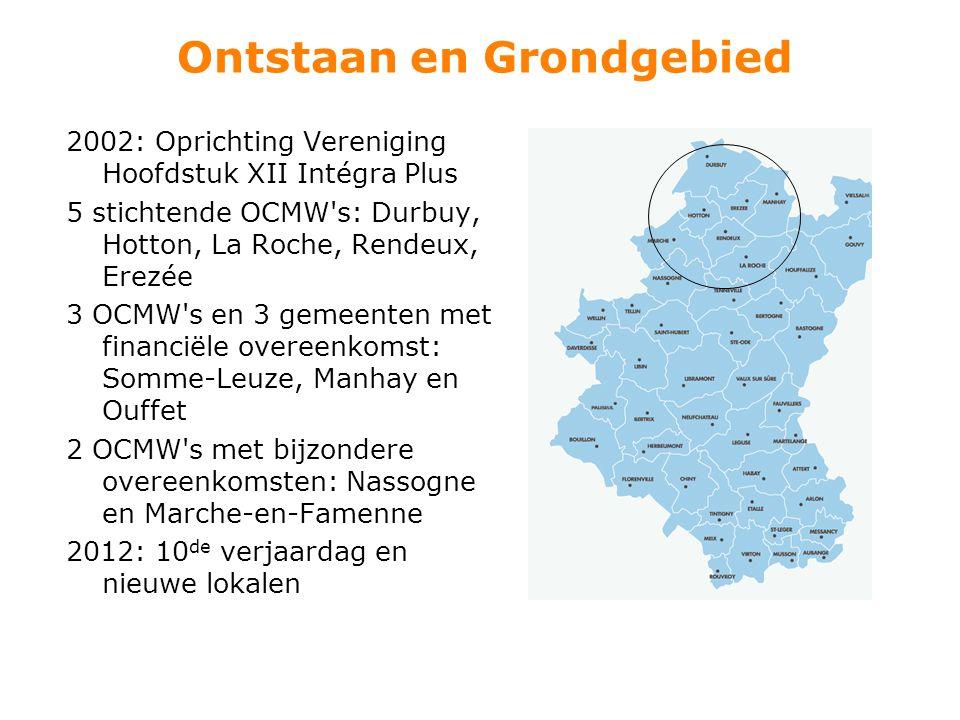 Ontstaan en Grondgebied 2002: Oprichting Vereniging Hoofdstuk XII Intégra Plus 5 stichtende OCMW's: Durbuy, Hotton, La Roche, Rendeux, Erezée 3 OCMW's