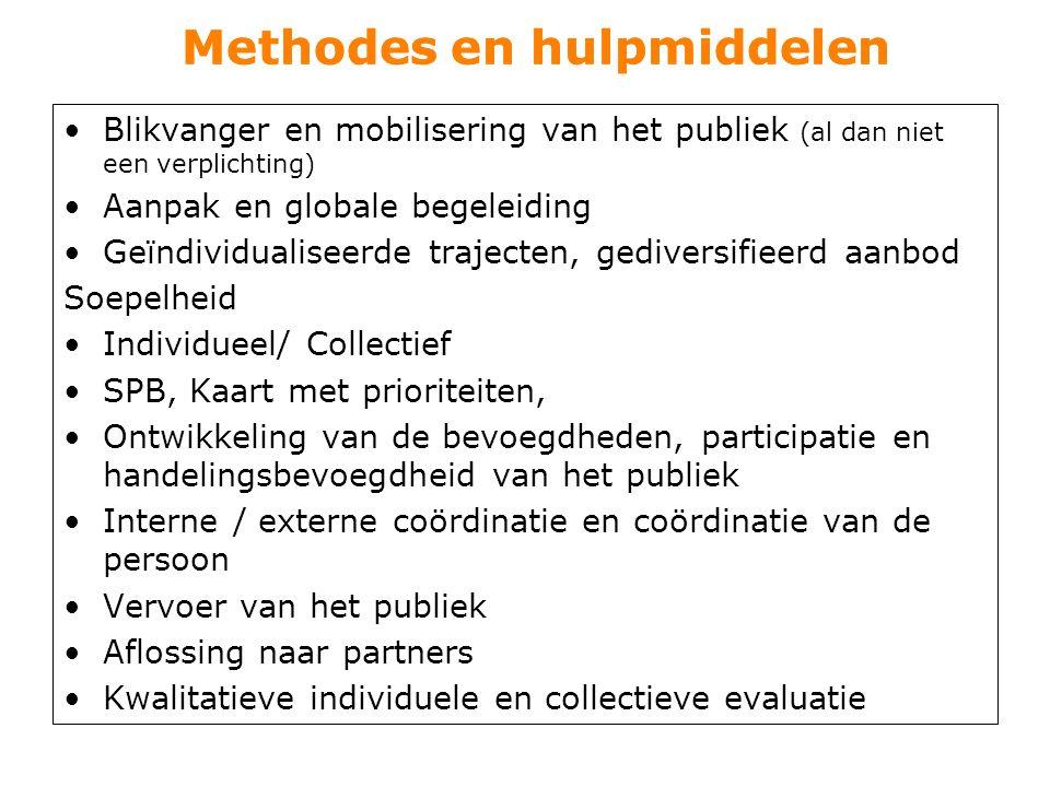 Methodes en hulpmiddelen Blikvanger en mobilisering van het publiek (al dan niet een verplichting) Aanpak en globale begeleiding Geïndividualiseerde t