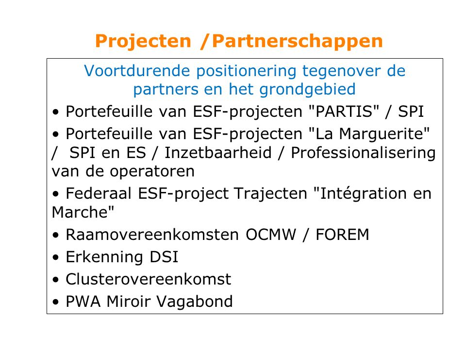Projecten /Partnerschappen Voortdurende positionering tegenover de partners en het grondgebied Portefeuille van ESF-projecten