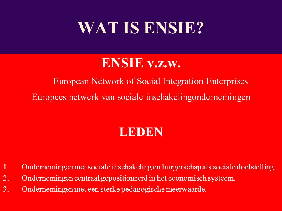 ENSIE v.z.w. European Network of Social Integration Enterprises Europees netwerk van sociale inschakelingondernemingen LEDEN 1.Ondernemingen met socia