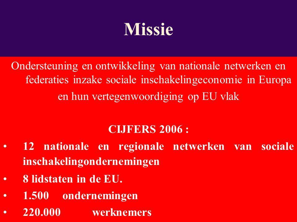 Ondersteuning en ontwikkeling van nationale netwerken en federaties inzake sociale inschakelingeconomie in Europa en hun vertegenwoordiging op EU vlak CIJFERS 2006 : 12 nationale en regionale netwerken van sociale inschakelingondernemingen 8 lidstaten in de EU.