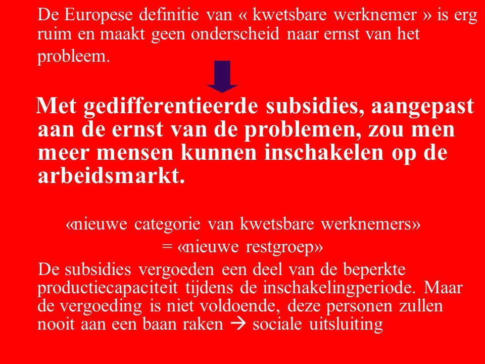 De Europese definitie van « kwetsbare werknemer » is erg ruim en maakt geen onderscheid naar ernst van het probleem.