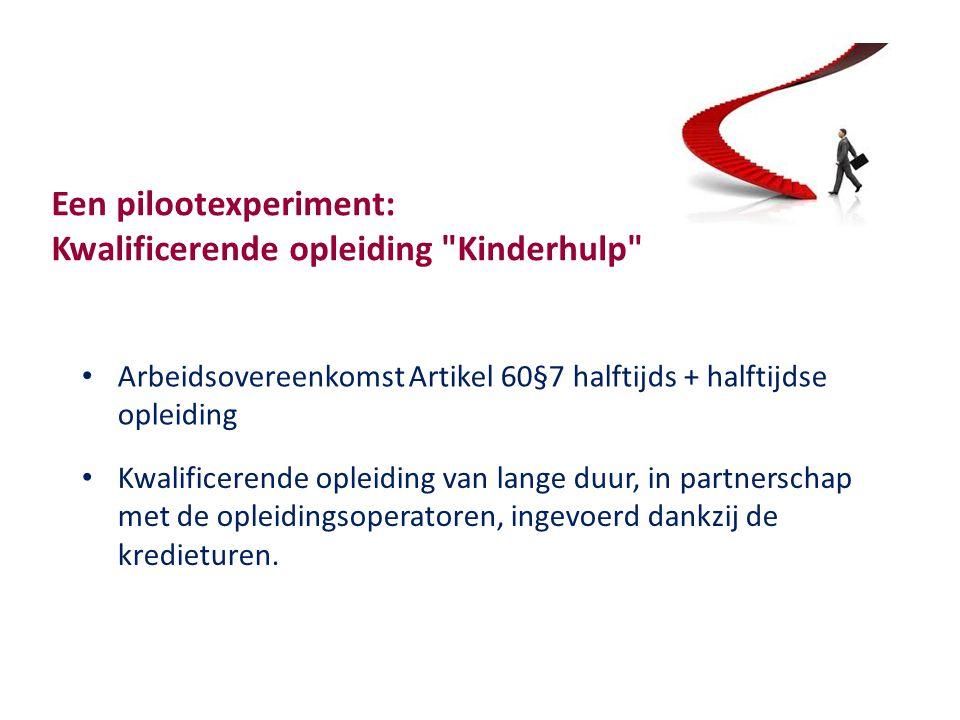 Een pilootexperiment: Kwalificerende opleiding Kinderhulp Arbeidsovereenkomst Artikel 60§7 halftijds + halftijdse opleiding Kwalificerende opleiding van lange duur, in partnerschap met de opleidingsoperatoren, ingevoerd dankzij de kredieturen.
