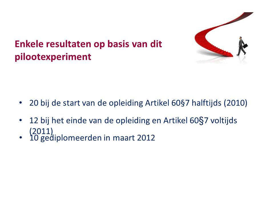 Enkele resultaten op basis van dit pilootexperiment 20 bij de start van de opleiding Artikel 60§7 halftijds (2010) 12 bij het einde van de opleiding en Artikel 60§7 voltijds (2011) 10 gediplomeerden in maart 2012
