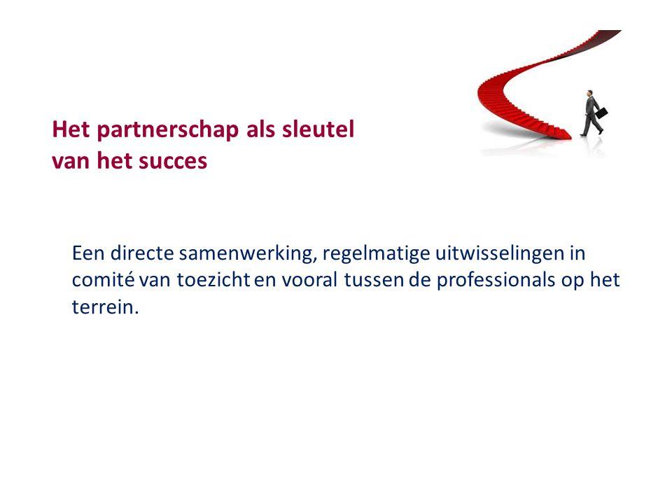 Het partnerschap als sleutel van het succes Een directe samenwerking, regelmatige uitwisselingen in comité van toezicht en vooral tussen de professionals op het terrein.