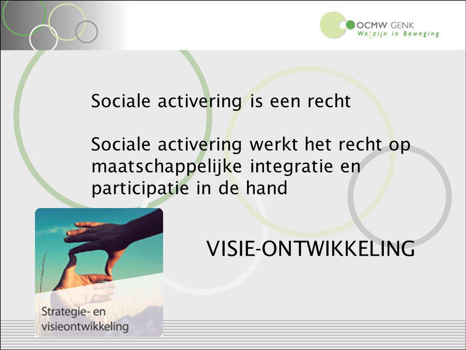 Sociale activering is een recht Sociale activering werkt het recht op maatschappelijke integratie en participatie in de hand VISIE-ONTWIKKELING