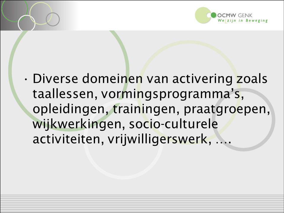 Diverse domeinen van activering zoals taallessen, vormingsprogramma's, opleidingen, trainingen, praatgroepen, wijkwerkingen, socio-culturele activiteiten, vrijwilligerswerk, ….