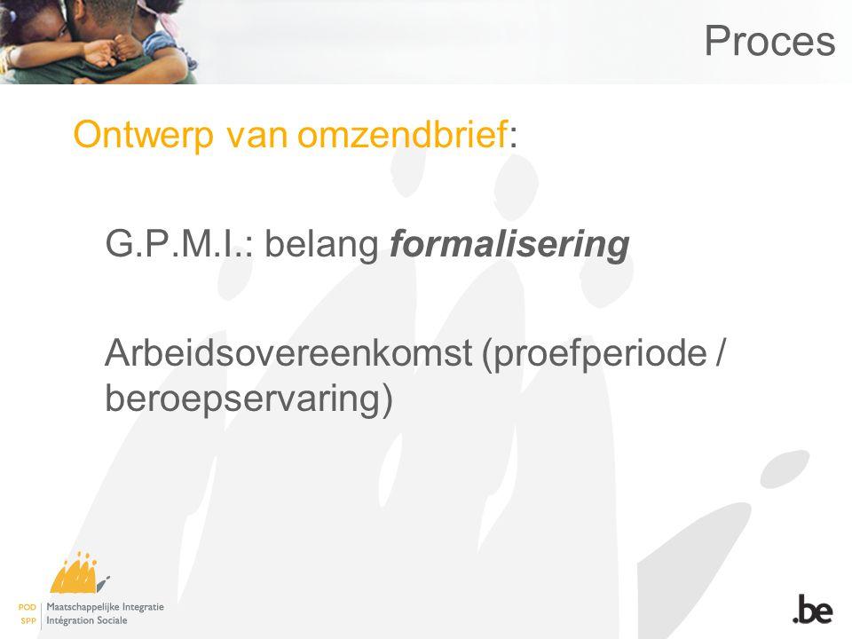 Proces Ontwerp van omzendbrief: G.P.M.I.: belang formalisering Arbeidsovereenkomst (proefperiode / beroepservaring)