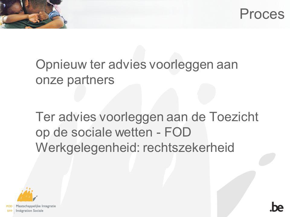 Proces Opnieuw ter advies voorleggen aan onze partners Ter advies voorleggen aan de Toezicht op de sociale wetten - FOD Werkgelegenheid: rechtszekerheid
