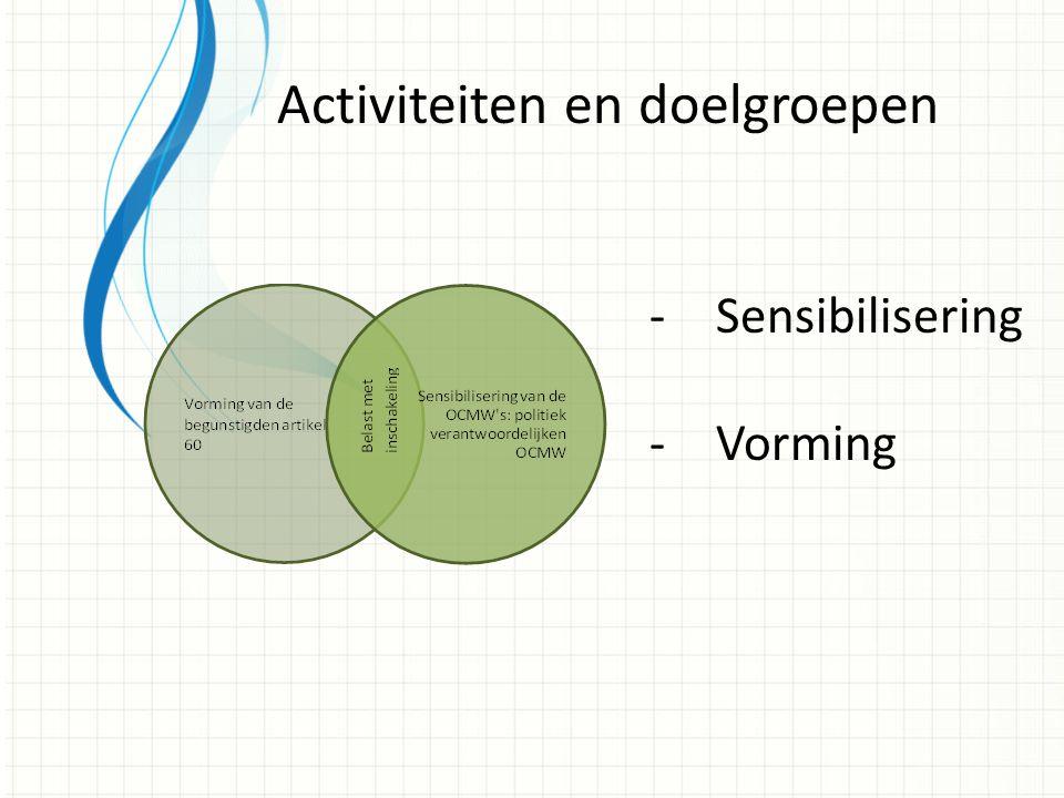 -Sensibilisering -Vorming Activiteiten en doelgroepen