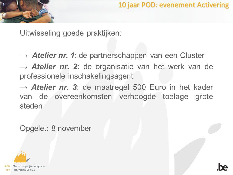 10 jaar POD: evenement Activering Uitwisseling goede praktijken: → Atelier nr.