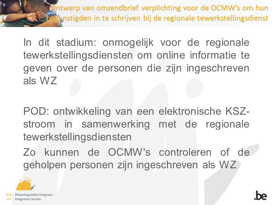 Studie werklast in de OCMW s Algemene beleidsverklaring van december 2011 → de diensverlening verbeteren voor de OCMW- cliënten Dit moet en kan enkel gebeuren wanneer men tegelijkertijd toeziet op een verbetering van de arbeidsvoorwaarden van de maatschappelijk werkers.