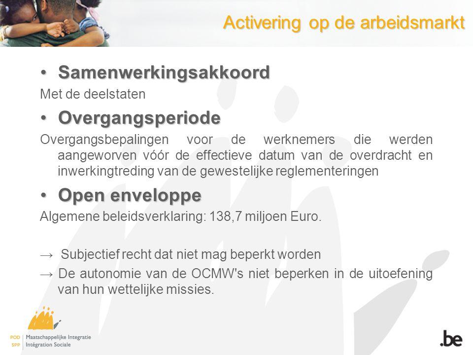 Activering op de arbeidsmarkt SamenwerkingsakkoordSamenwerkingsakkoord Met de deelstaten OvergangsperiodeOvergangsperiode Overgangsbepalingen voor de