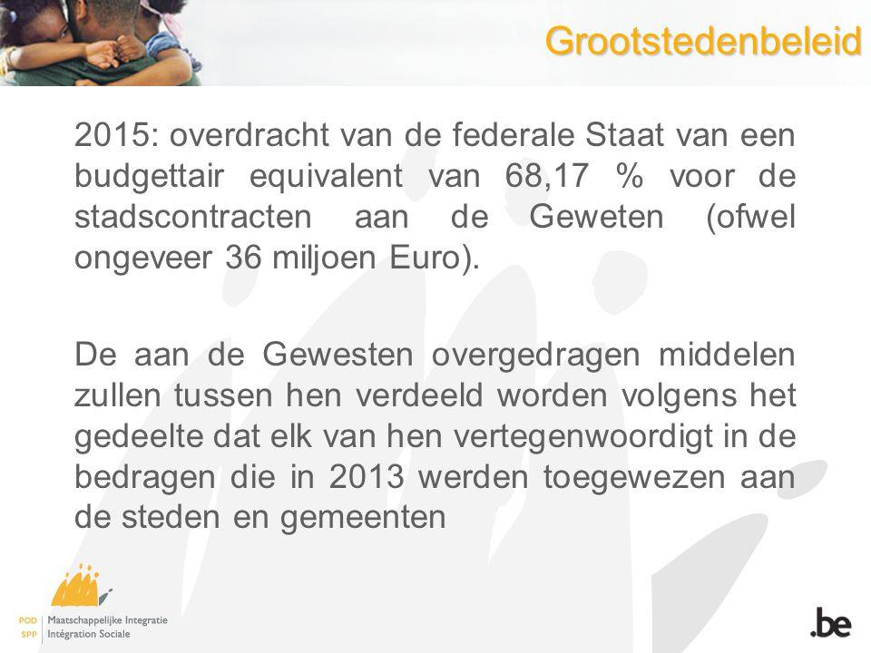 Grootstedenbeleid 2015: overdracht van de federale Staat van een budgettair equivalent van 68,17 % voor de stadscontracten aan de Geweten (ofwel ongev