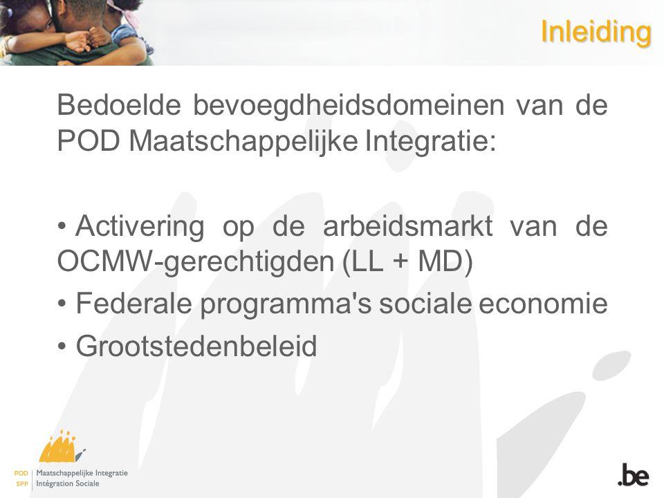 Inleiding Bedoelde bevoegdheidsdomeinen van de POD Maatschappelijke Integratie: Activering op de arbeidsmarkt van de OCMW-gerechtigden (LL + MD) Feder