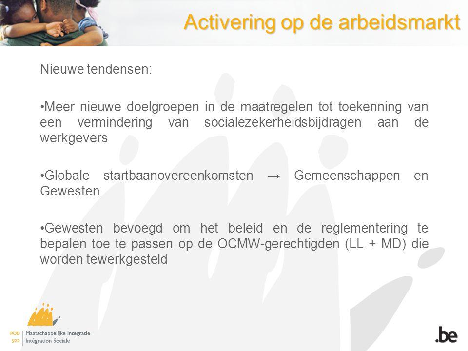 Activering op de arbeidsmarkt Nieuwe tendensen: Meer nieuwe doelgroepen in de maatregelen tot toekenning van een vermindering van socialezekerheidsbij
