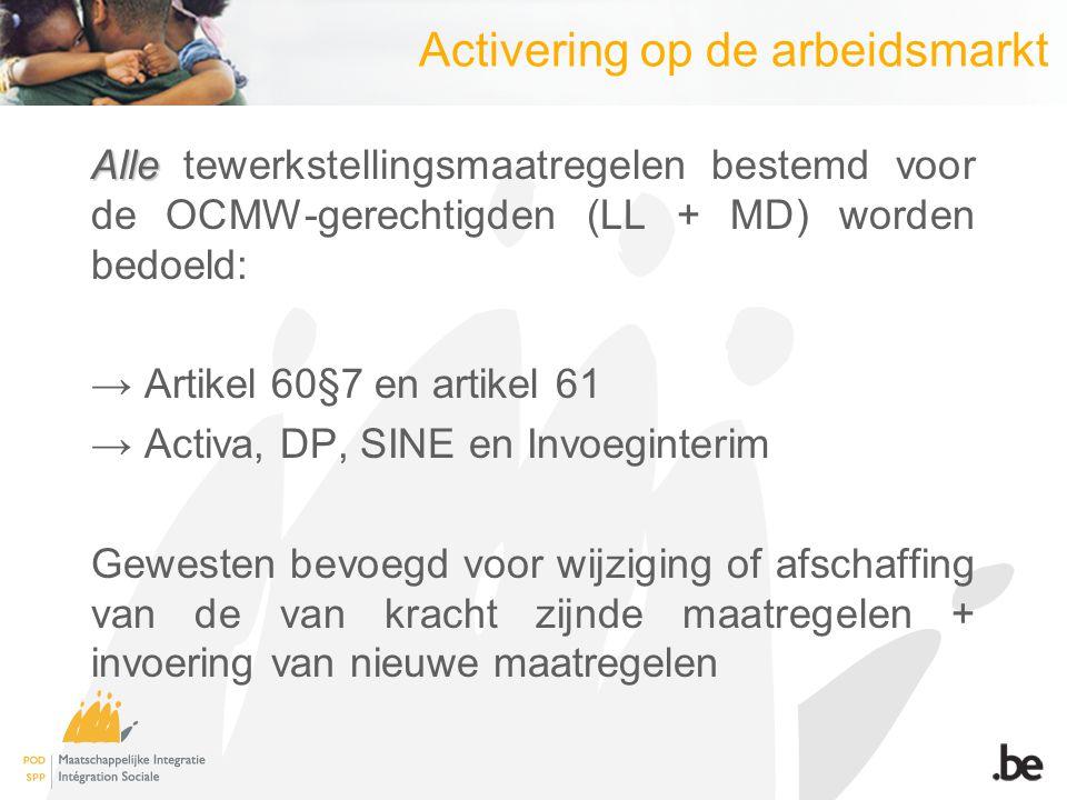 Activering op de arbeidsmarkt Alle Alle tewerkstellingsmaatregelen bestemd voor de OCMW-gerechtigden (LL + MD) worden bedoeld: → Artikel 60§7 en artik