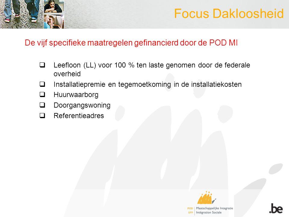 Focus Dakloosheid De vijf specifieke maatregelen gefinancierd door de POD MI  Leefloon (LL) voor 100 % ten laste genomen door de federale overheid  Installatiepremie en tegemoetkoming in de installatiekosten  Huurwaarborg  Doorgangswoning  Referentieadres
