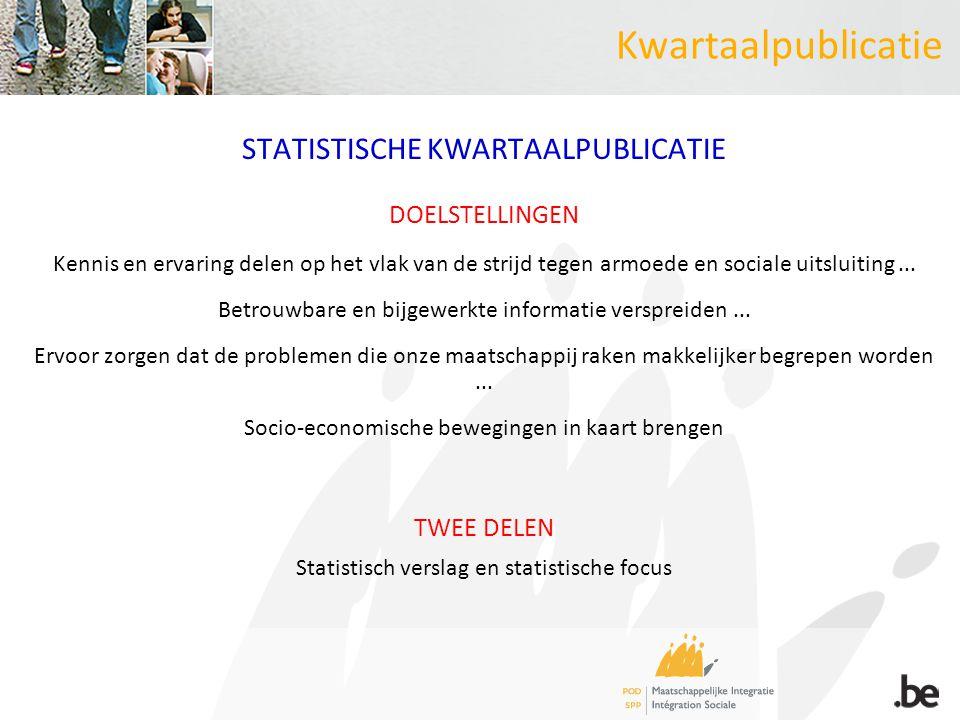 Kwartaalpublicatie STATISTISCHE KWARTAALPUBLICATIE DOELSTELLINGEN Kennis en ervaring delen op het vlak van de strijd tegen armoede en sociale uitsluiting...