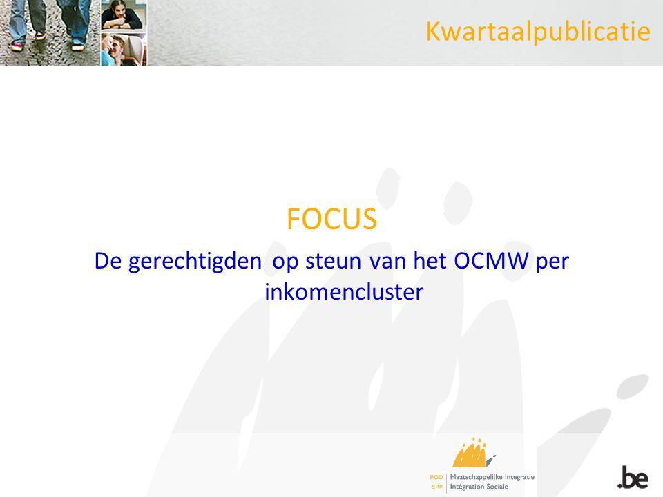 Kwartaalpublicatie FOCUS De gerechtigden op steun van het OCMW per inkomencluster