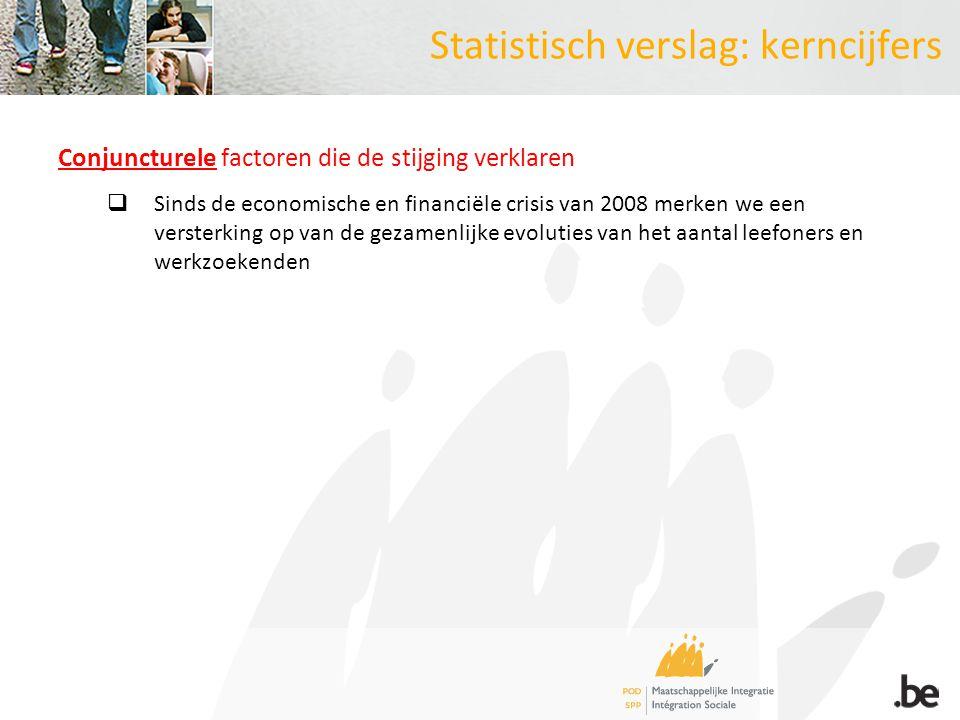Statistisch verslag: kerncijfers Conjuncturele factoren die de stijging verklaren  Sinds de economische en financiële crisis van 2008 merken we een v