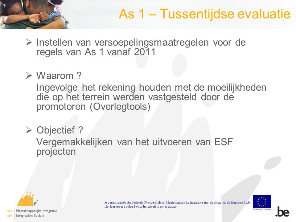 As 1 – Tussentijdse evaluatie  Instellen van versoepelingsmaatregelen voor de regels van As 1 vanaf 2011  Waarom .