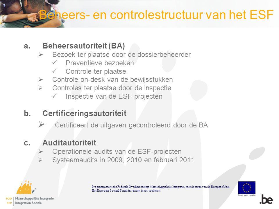 Beheers- en controlestructuur van het ESF a.Beheersautoriteit (BA)  Bezoek ter plaatse door de dossierbeheerder Preventieve bezoeken Controle ter plaatse  Controle on-desk van de bewijsstukken  Controles ter plaatse door de inspectie Inspectie van de ESF-projecten b.Certificeringsautoriteit  Certificeert de uitgaven gecontroleerd door de BA c.Auditautoriteit  Operationele audits van de ESF-projecten  Systeemaudits in 2009, 2010 en februari 2011 Programmatorische Federale Overheidsdienst Maatschappelijke Integratie, met de steun van de Europese Unie Het Europees Sociaal Fonds investeert in uw toekomst
