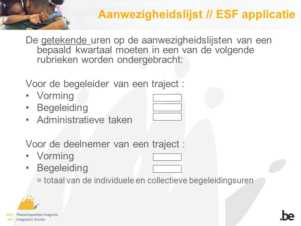 Enkele goede praktijken van OCMW's Sommige OCMW's voegen bij het dossier van elke deelnemer een blad met uitleg over het ESF.