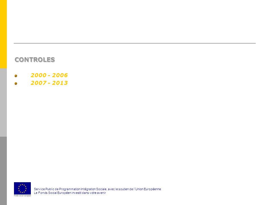 CONTROLES 2000 - 2006 2007 - 2013 Service Public de Programmation Int é gration Sociale, avec le soutien de l ' Union Europ é enne Le Fonds Social Europ é en investit dans votre avenir