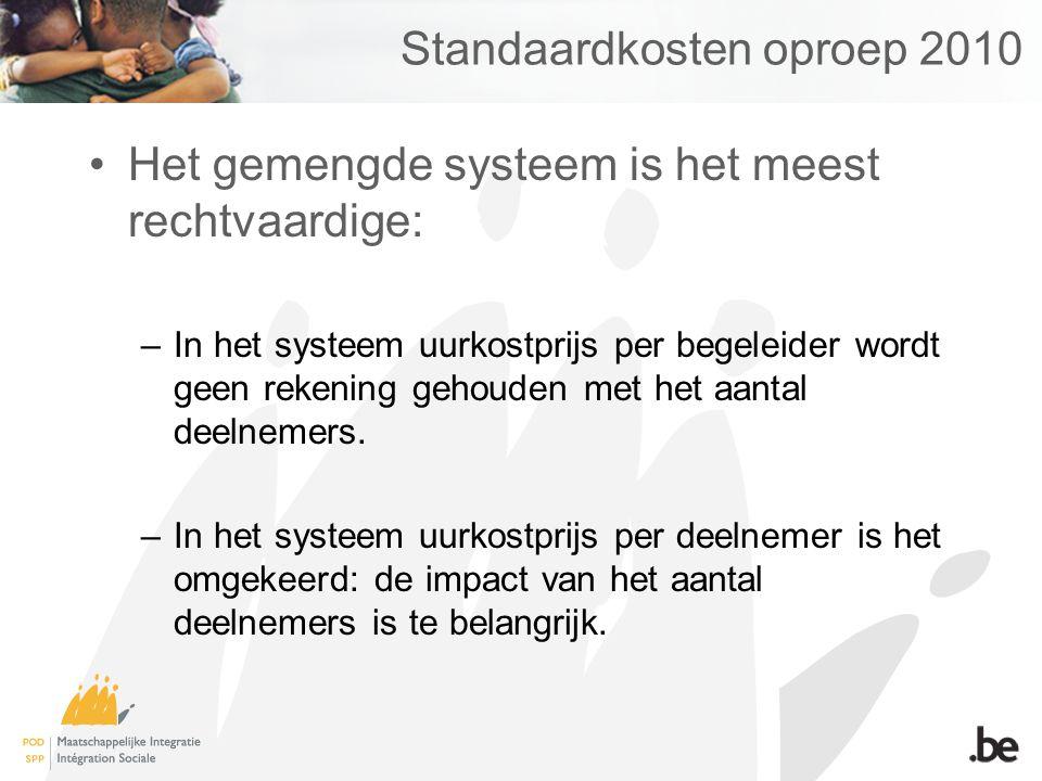 Standaardkosten oproep 2010 Het gemengde systeem is het meest rechtvaardige: –In het systeem uurkostprijs per begeleider wordt geen rekening gehouden