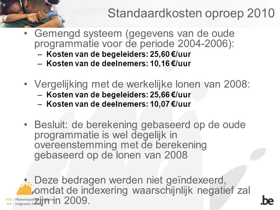 Standaardkosten oproep 2010 Gemengd systeem (gegevens van de oude programmatie voor de periode 2004-2006): –Kosten van de begeleiders: 25,60 €/uur –Kosten van de deelnemers: 10,16 €/uur Vergelijking met de werkelijke lonen van 2008: –Kosten van de begeleiders: 25,66 €/uur –Kosten van de deelnemers: 10,07 €/uur Besluit: de berekening gebaseerd op de oude programmatie is wel degelijk in overeenstemming met de berekening gebaseerd op de lonen van 2008 Deze bedragen werden niet geïndexeerd, omdat de indexering waarschijnlijk negatief zal zijn in 2009.